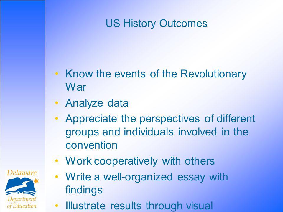 US History Outcomes Know the events of the Revolutionary War Analyze data Appreciate the perspectives of different groups and individuals involved in
