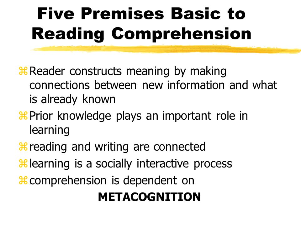 Cognitive Strategy Instruction When readers are given cognitive strategy instruction, they make significant gains on measures of reading comprehension