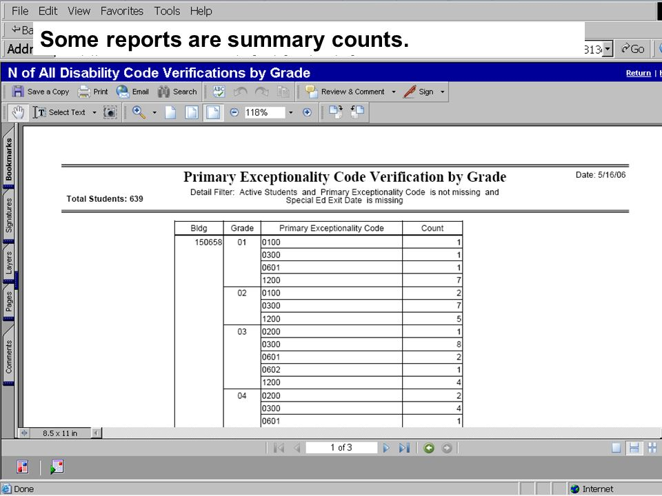 Some reports are summary counts.