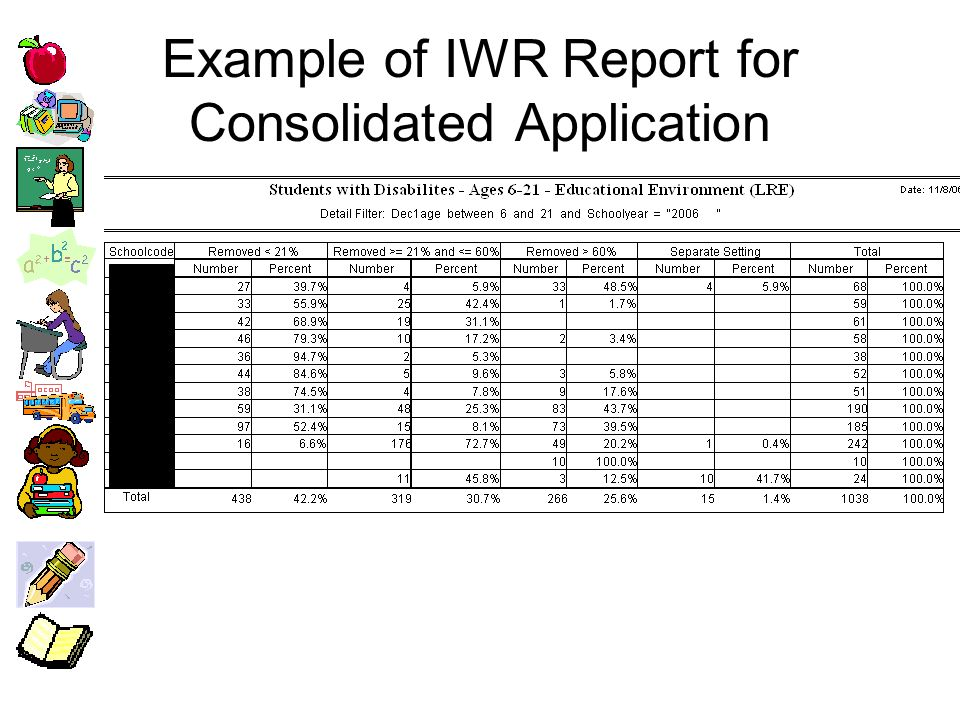 Example of IWR Report for Consolidated Application