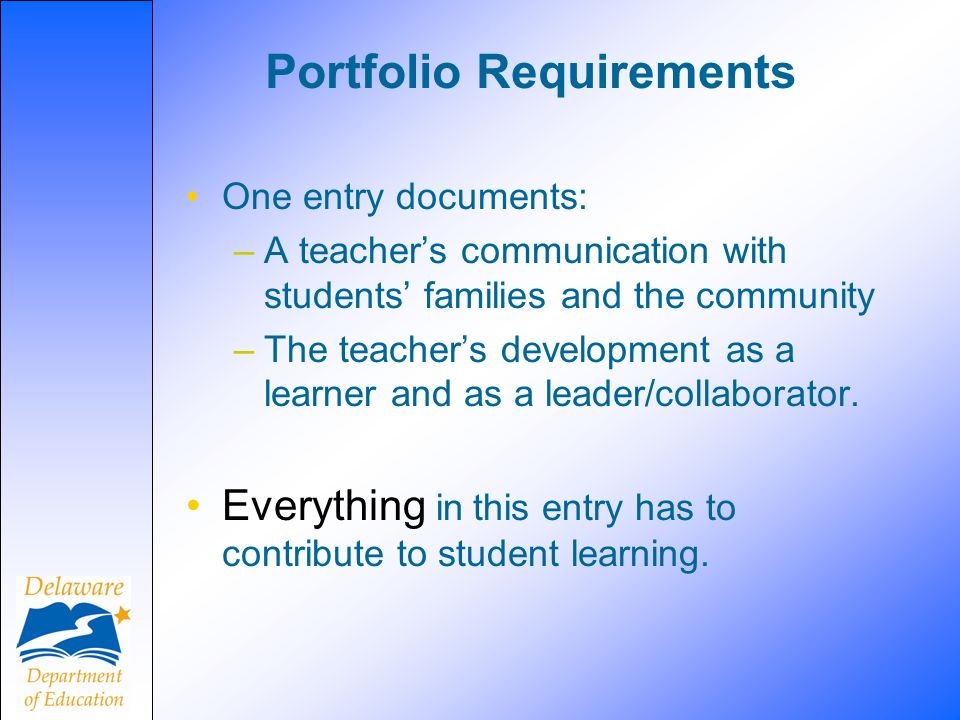 Portfolio Requirements One entry documents: –A teachers communication with students families and the community –The teachers development as a learner and as a leader/collaborator.