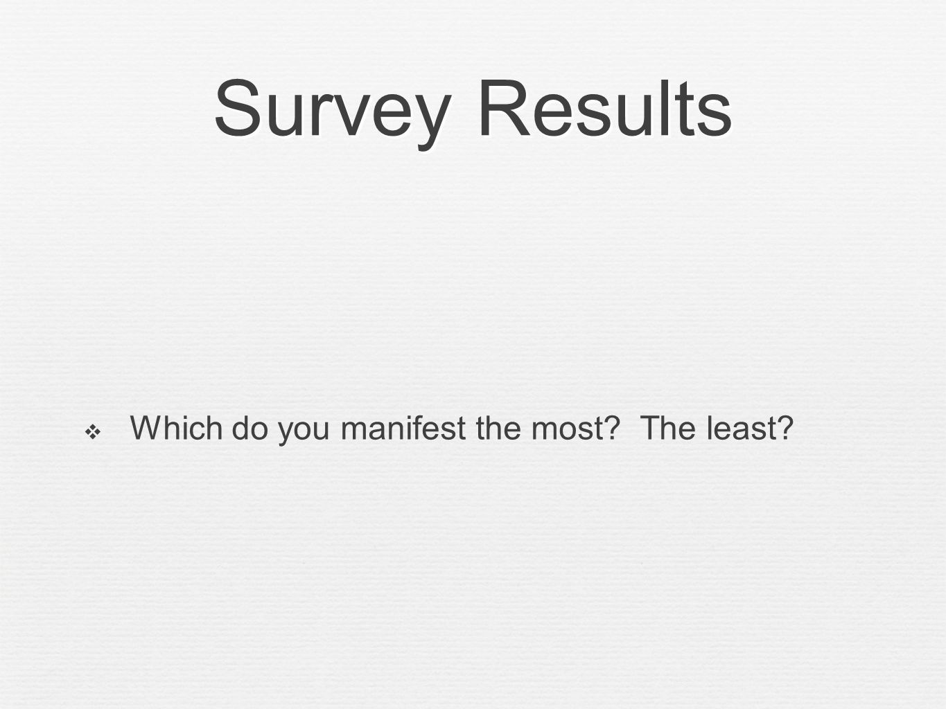 Survey Results Which do you manifest the most? The least?