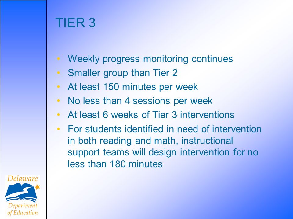 TIER 3 Weekly progress monitoring continues Smaller group than Tier 2 At least 150 minutes per week No less than 4 sessions per week At least 6 weeks of Tier 3 interventions For students identified in need of intervention in both reading and math, instructional support teams will design intervention for no less than 180 minutes