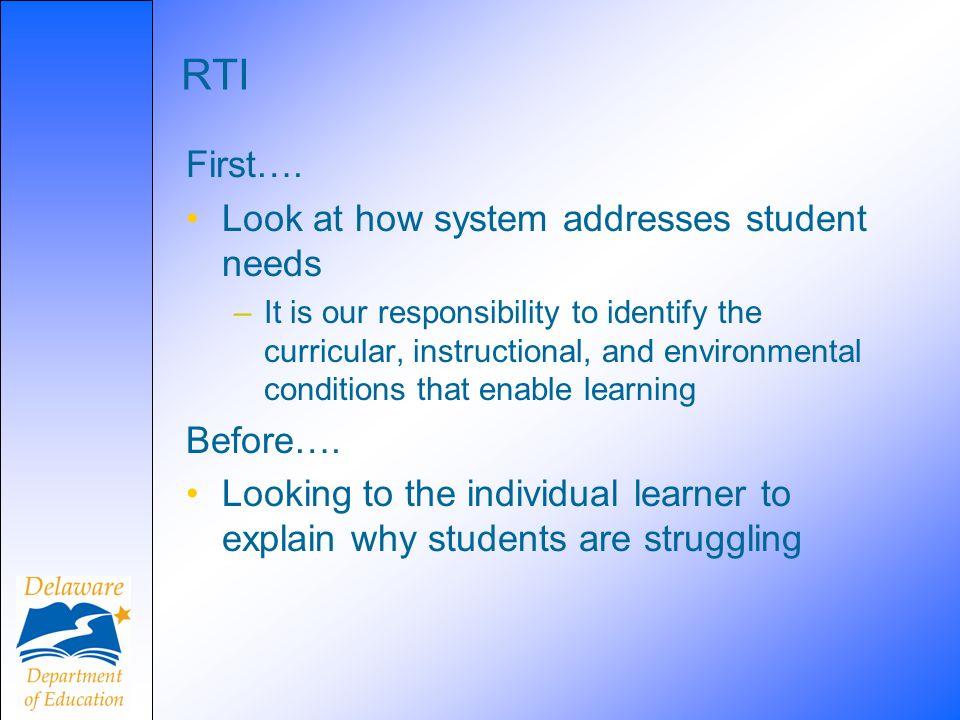 RTI First….
