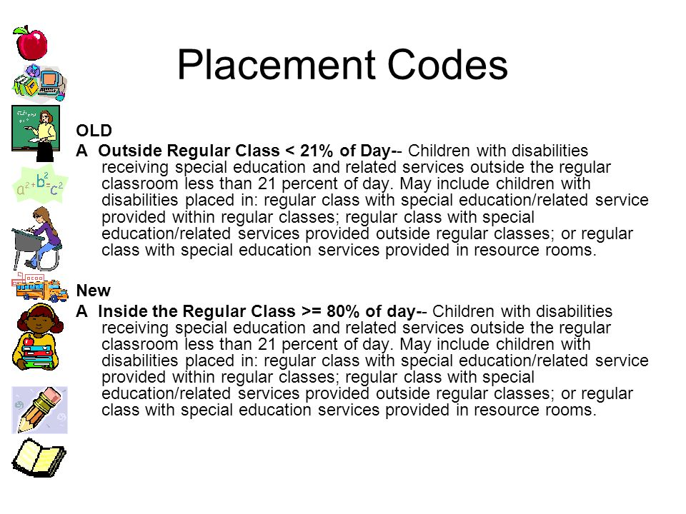 Placement Codes OLD BOutside Regular Class >= 21% AND <= 60% of Day -- Children with disabilities receiving special education and related services outside the regular classroom for at least 21 percent of day and no more than 60 percent of day.