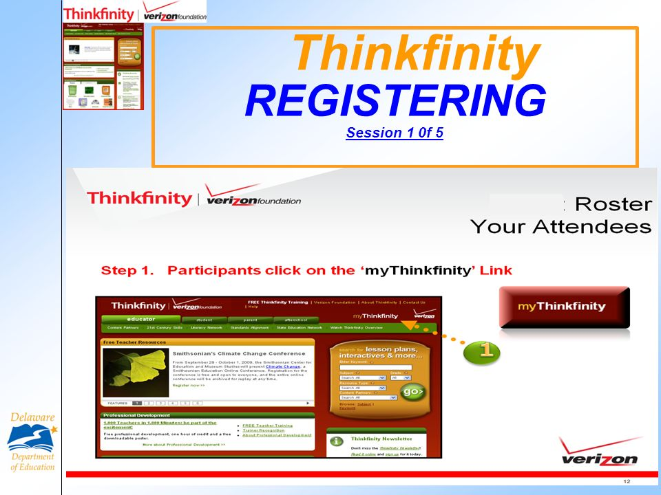 Thinkfinity REGISTERING Session 1 0f 5