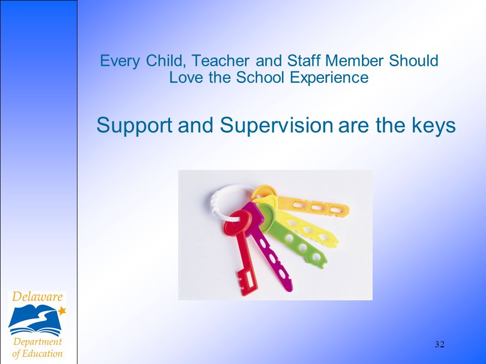 32 Every Child, Teacher and Staff Member Should Love the School Experience Support and Supervision are the keys
