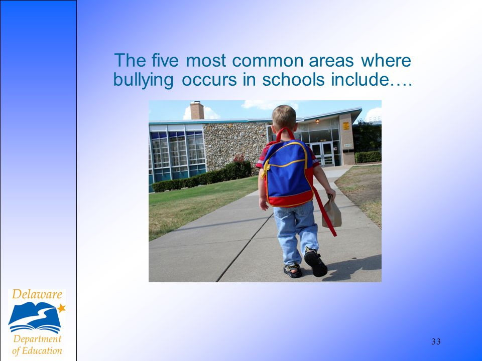 The five most common areas where bullying occurs in schools include…. 33
