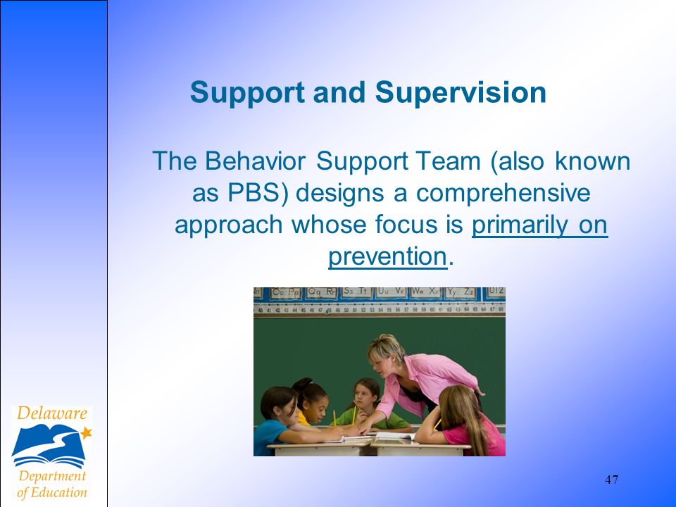 47 Support and Supervision The Behavior Support Team (also known as PBS) designs a comprehensive approach whose focus is primarily on prevention.