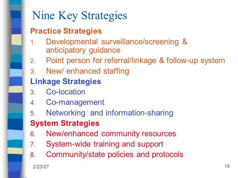 2/23/07 16 Nine Key Strategies Practice Strategies 1.