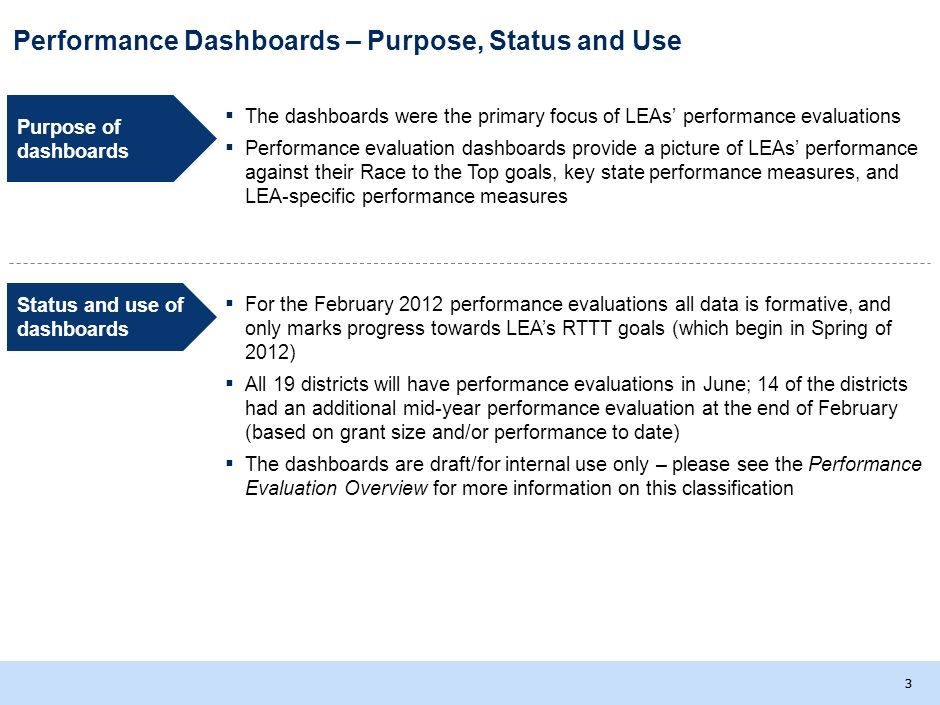 33 Performance Dashboards – Purpose, Status and Use Status and use of dashboards For the February 2012 performance evaluations all data is formative, and only marks progress towards LEAs RTTT goals (which begin in Spring of 2012) All 19 districts will have performance evaluations in June; 14 of the districts had an additional mid-year performance evaluation at the end of February (based on grant size and/or performance to date) The dashboards are draft/for internal use only – please see the Performance Evaluation Overview for more information on this classification Purpose of dashboards The dashboards were the primary focus of LEAs performance evaluations Performance evaluation dashboards provide a picture of LEAs performance against their Race to the Top goals, key state performance measures, and LEA-specific performance measures