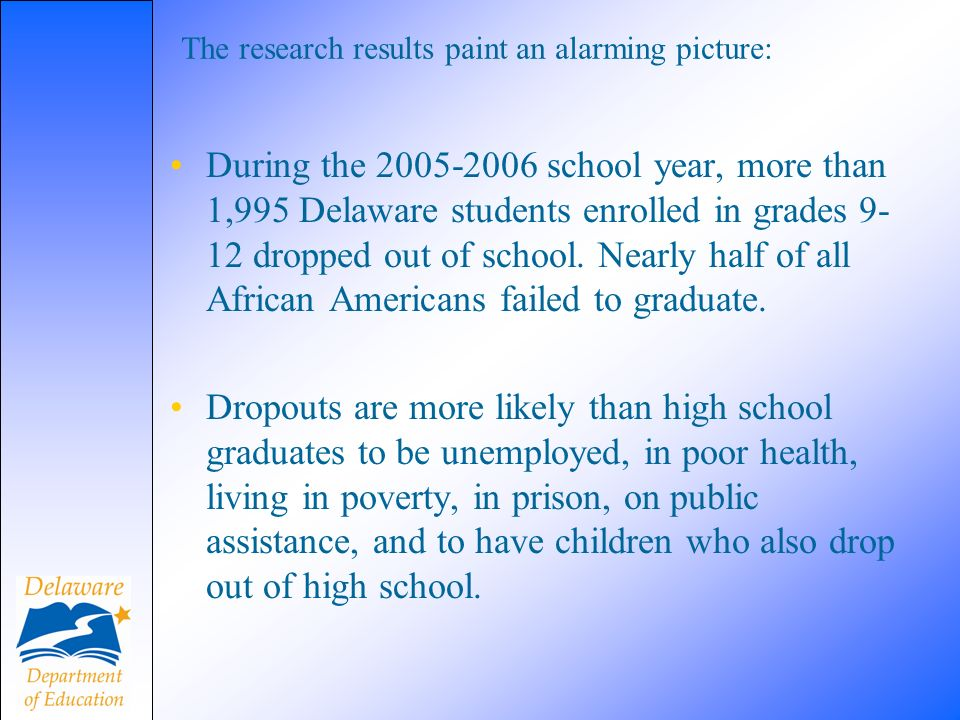 The research results paint an alarming picture: During the 2005-2006 school year, more than 1,995 Delaware students enrolled in grades 9- 12 dropped out of school.