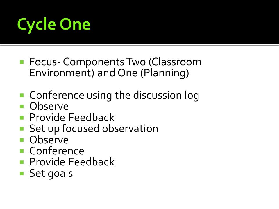 Focus- Components Two (Classroom Environment) and One (Planning) Conference using the discussion log Observe Provide Feedback Set up focused observati