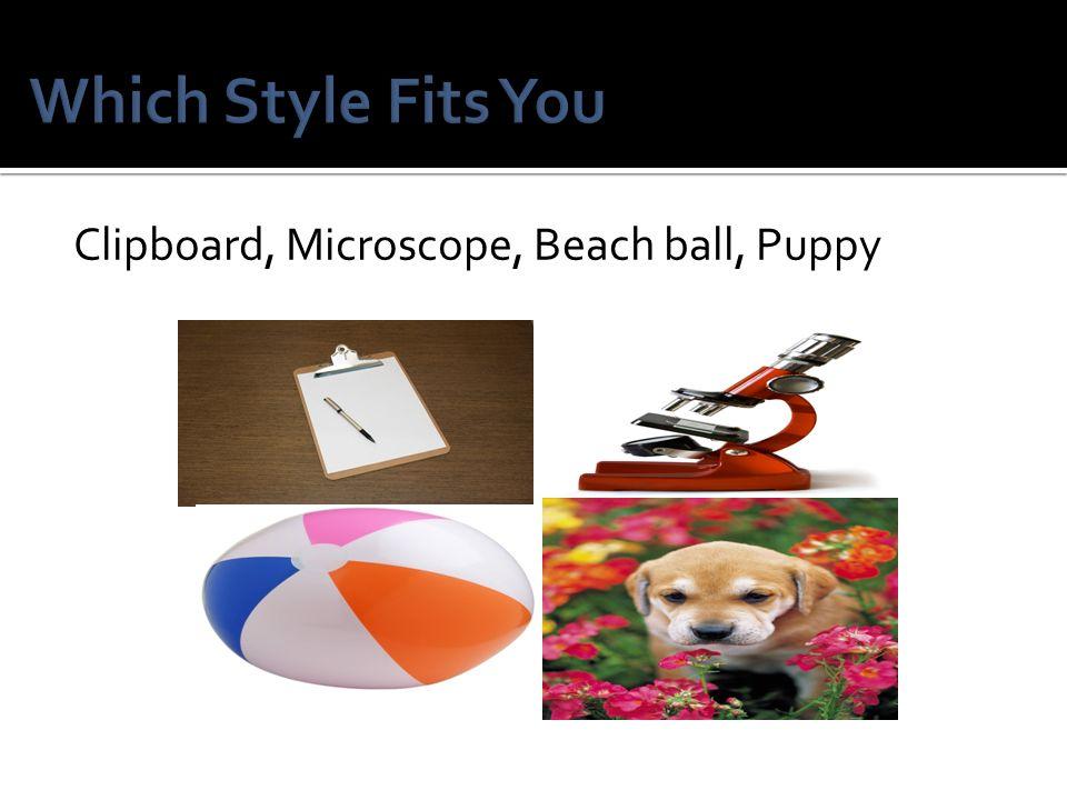 Clipboard, Microscope, Beach ball, Puppy