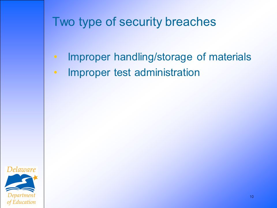 10 Two type of security breaches Improper handling/storage of materials Improper test administration
