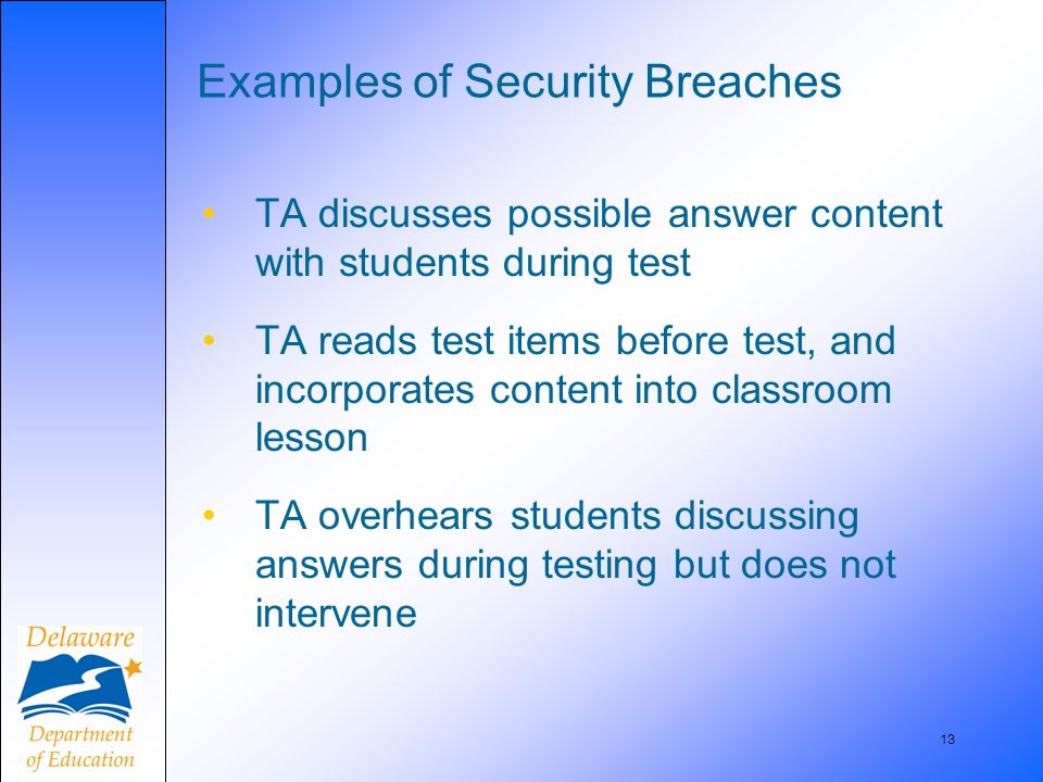 13 Examples of Security Breaches TA discusses possible answer content with students during test TA reads test items before test, and incorporates cont