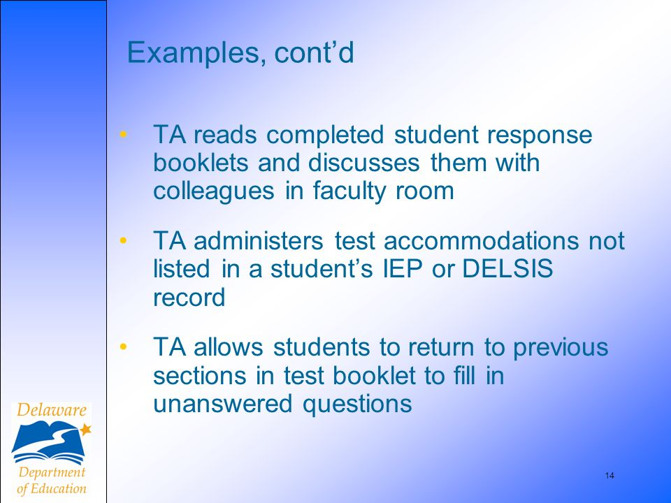 14 Examples, contd TA reads completed student response booklets and discusses them with colleagues in faculty room TA administers test accommodations not listed in a students IEP or DELSIS record TA allows students to return to previous sections in test booklet to fill in unanswered questions