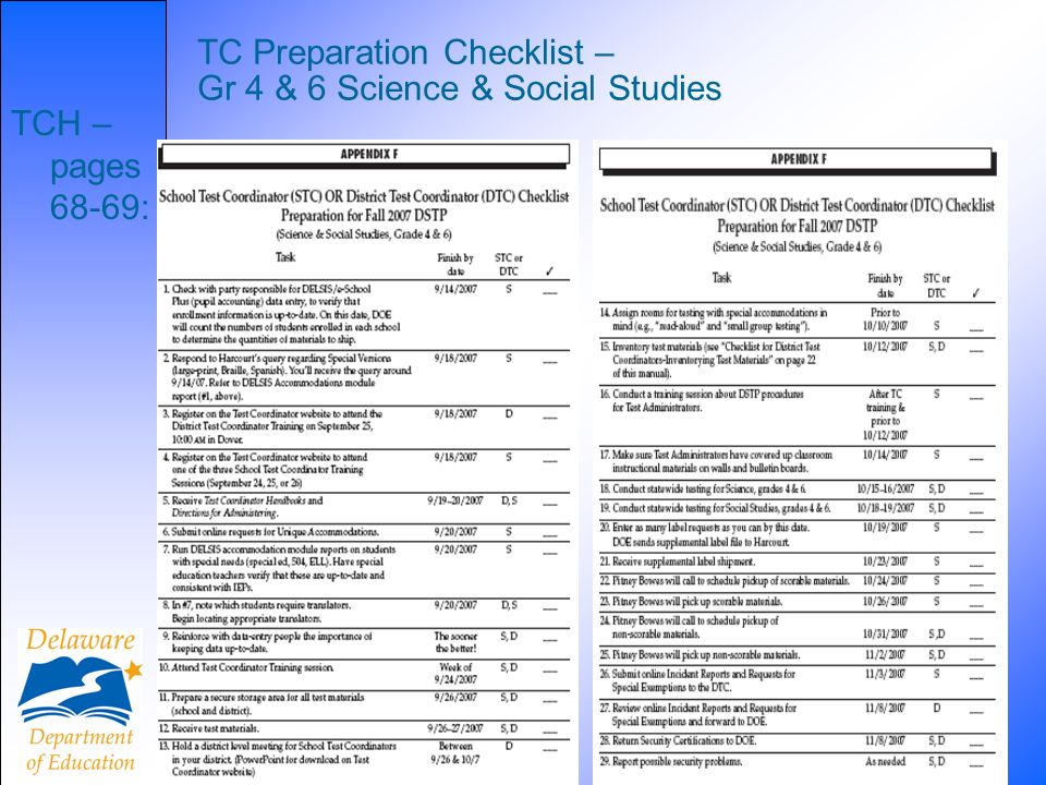 21 TC Preparation Checklist – Gr 4 & 6 Science & Social Studies TCH – pages 68-69:
