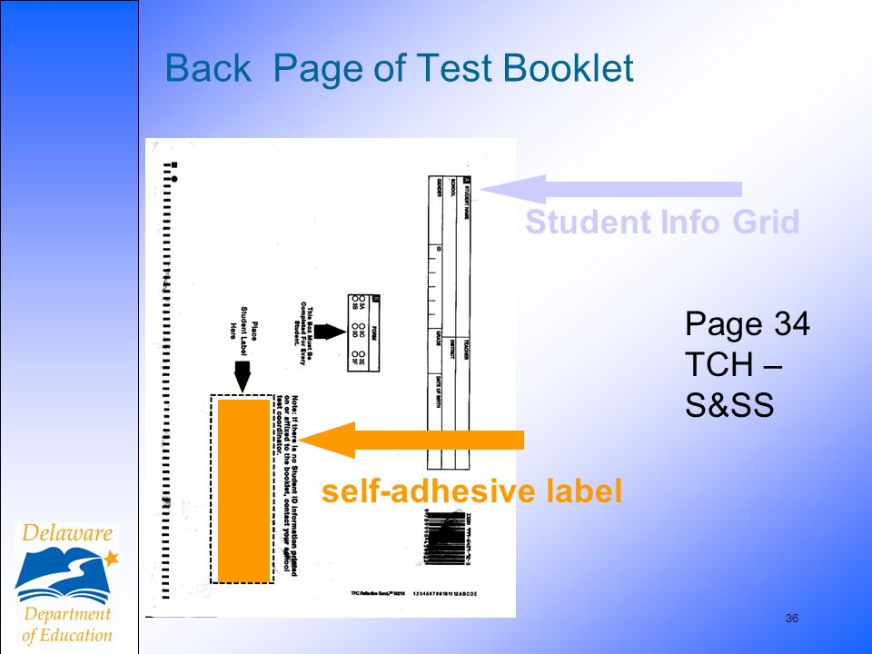 36 Back Page of Test Booklet Page 34 TCH – S&SS self-adhesive label Student Info Grid