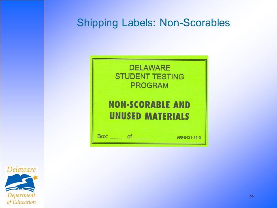 90 Shipping Labels: Non-Scorables