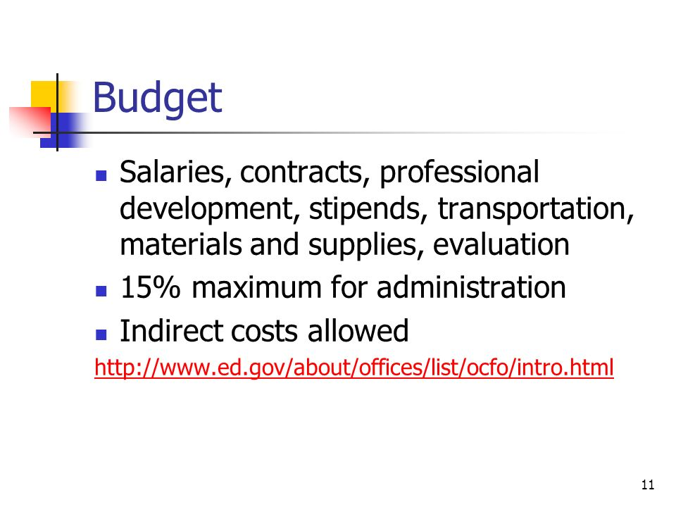 Budget Salaries, contracts, professional development, stipends, transportation, materials and supplies, evaluation 15% maximum for administration Indirect costs allowed http://www.ed.gov/about/offices/list/ocfo/intro.html 11