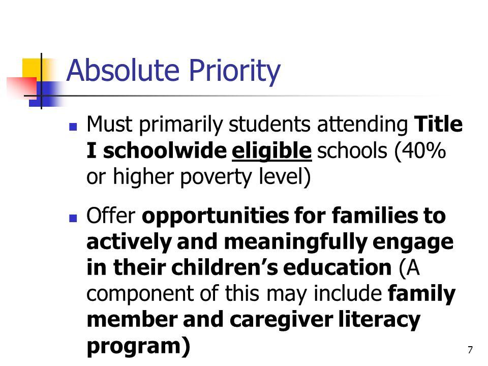 Program Components Academic Assistance Enrichment Family Literacy Recreation Snack, etc.