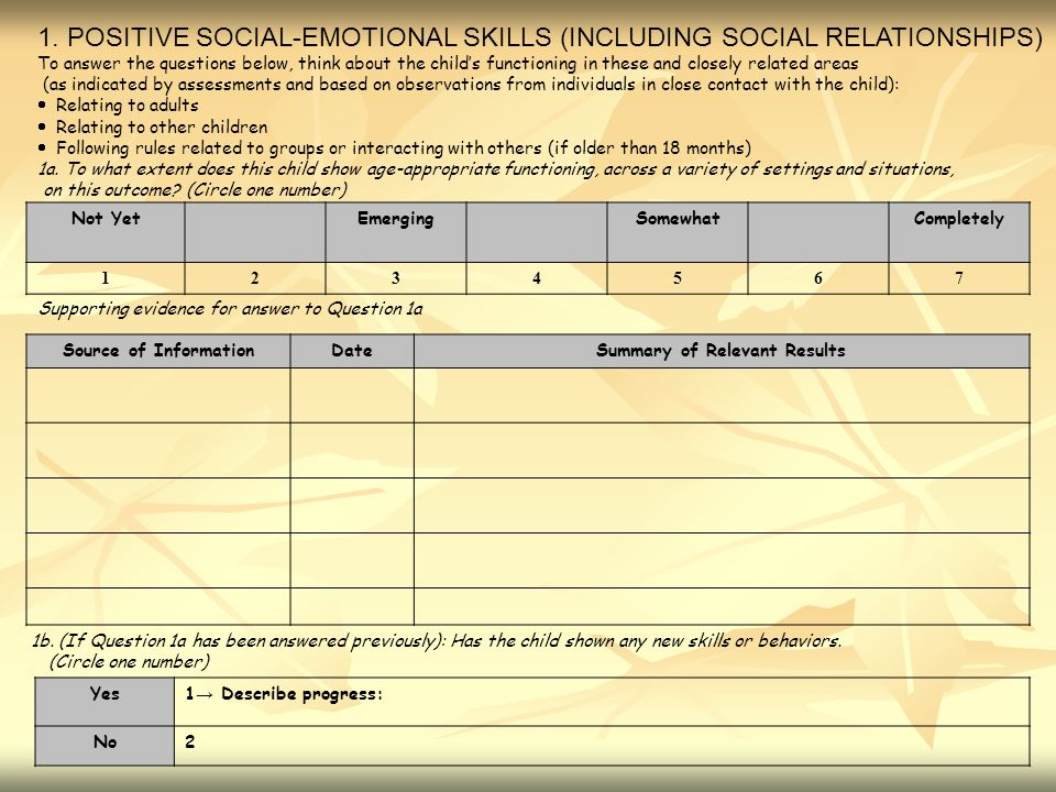 1. POSITIVE SOCIAL-EMOTIONAL SKILLS (INCLUDING SOCIAL RELATIONSHIPS) To answer the questions below, think about the childs functioning in these and cl
