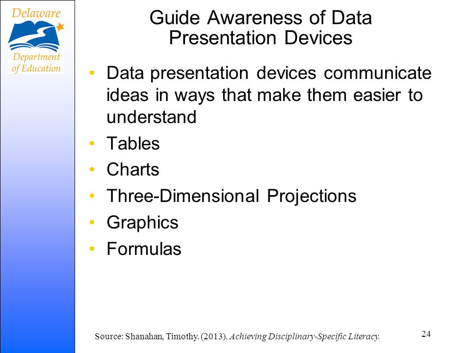 Guide Awareness of Data Presentation Devices Data presentation devices communicate ideas in ways that make them easier to understand Tables Charts Thr