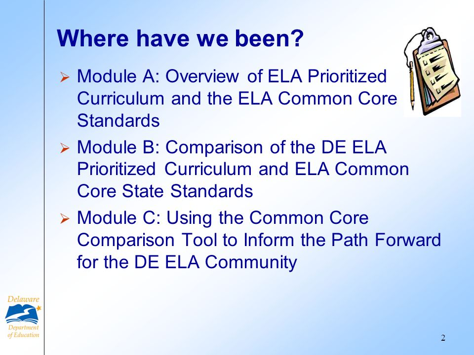 Where have we been? Module A: Overview of ELA Prioritized Curriculum and the ELA Common Core Standards Module B: Comparison of the DE ELA Prioritized