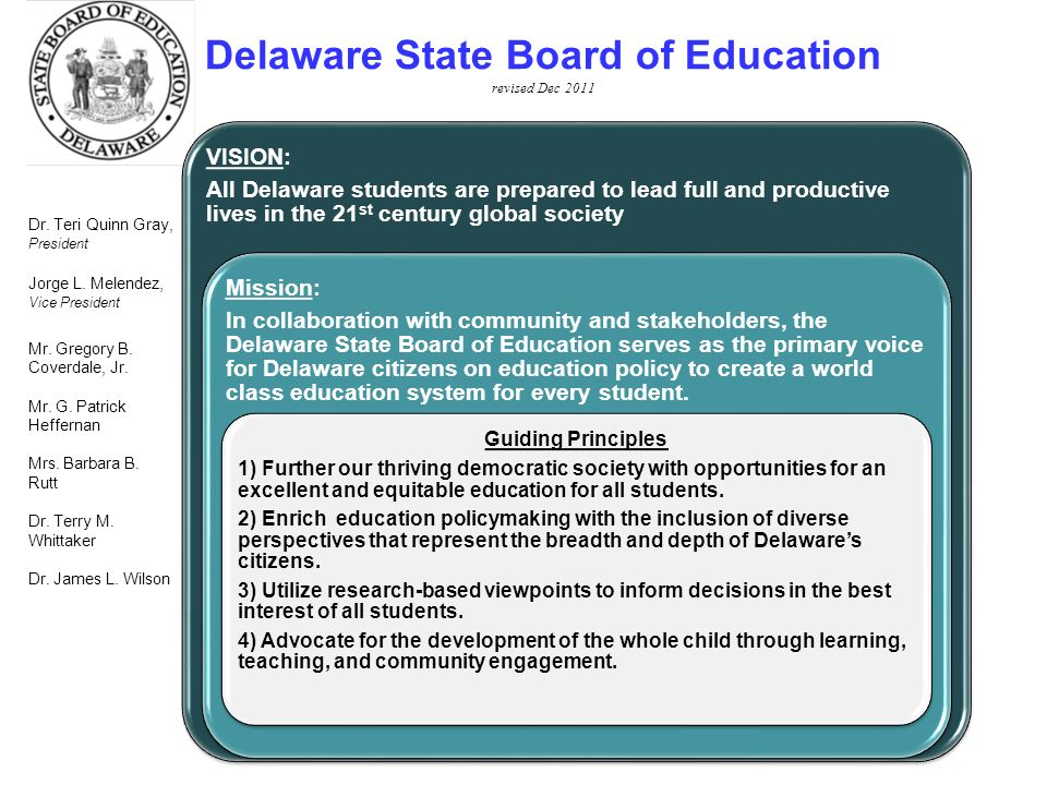 ~DRAFT~ 16 VISION: All Delaware students are prepared to lead full and productive lives in the 21 st century global society Mission: In collaboration