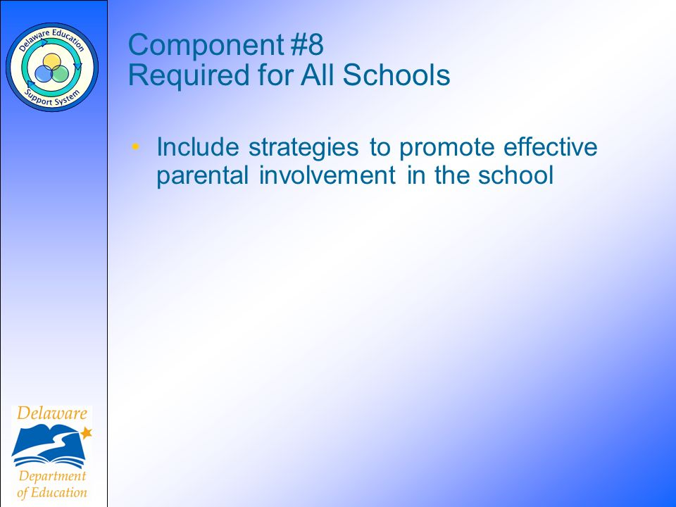 Component #8 Required for All Schools Include strategies to promote effective parental involvement in the school