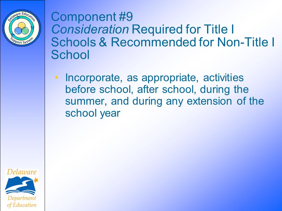 Component #9 Consideration Required for Title I Schools & Recommended for Non-Title I School Incorporate, as appropriate, activities before school, after school, during the summer, and during any extension of the school year