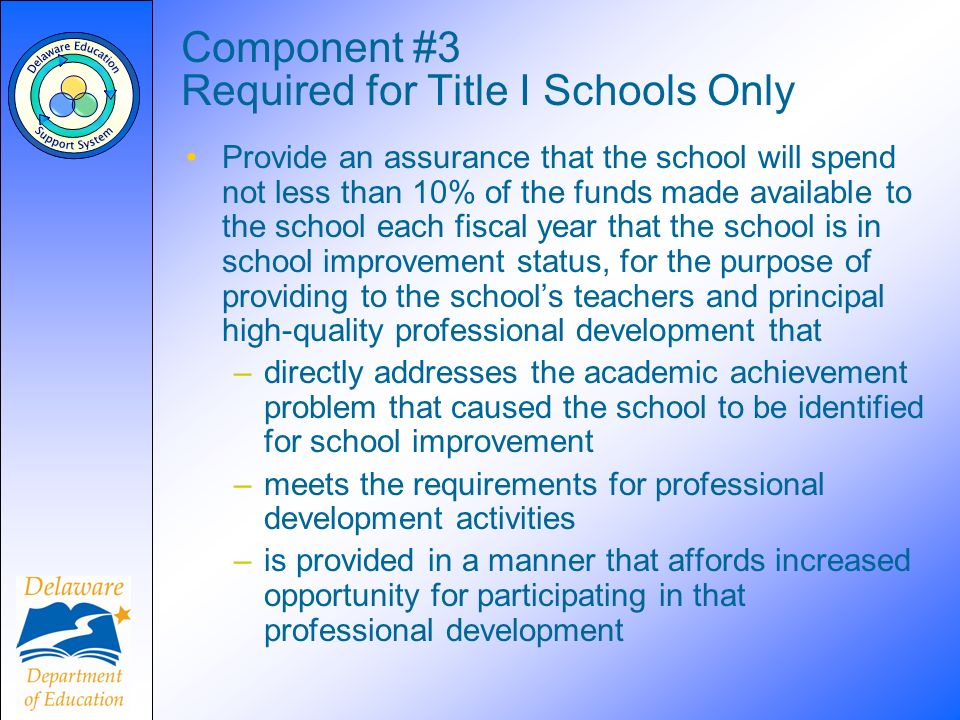 Component #3 Required for Title I Schools Only Provide an assurance that the school will spend not less than 10% of the funds made available to the school each fiscal year that the school is in school improvement status, for the purpose of providing to the schools teachers and principal high-quality professional development that –directly addresses the academic achievement problem that caused the school to be identified for school improvement –meets the requirements for professional development activities –is provided in a manner that affords increased opportunity for participating in that professional development