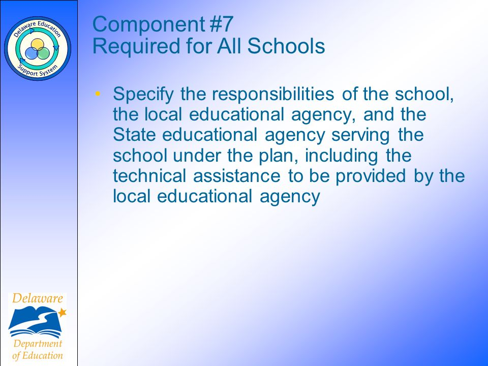 Component #7 Required for All Schools Specify the responsibilities of the school, the local educational agency, and the State educational agency serving the school under the plan, including the technical assistance to be provided by the local educational agency