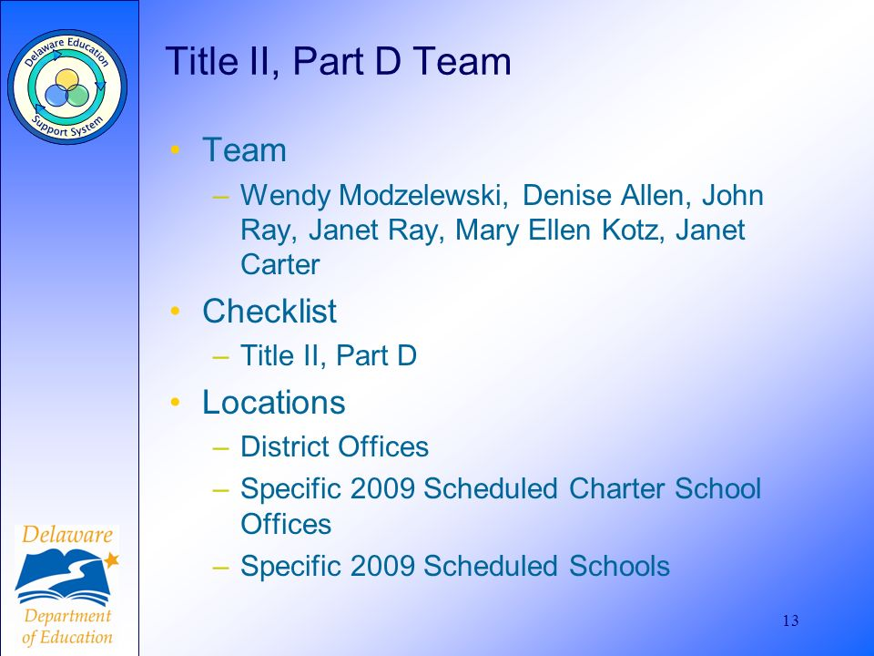 13 Title II, Part D Team Team –Wendy Modzelewski, Denise Allen, John Ray, Janet Ray, Mary Ellen Kotz, Janet Carter Checklist –Title II, Part D Locations –District Offices –Specific 2009 Scheduled Charter School Offices –Specific 2009 Scheduled Schools