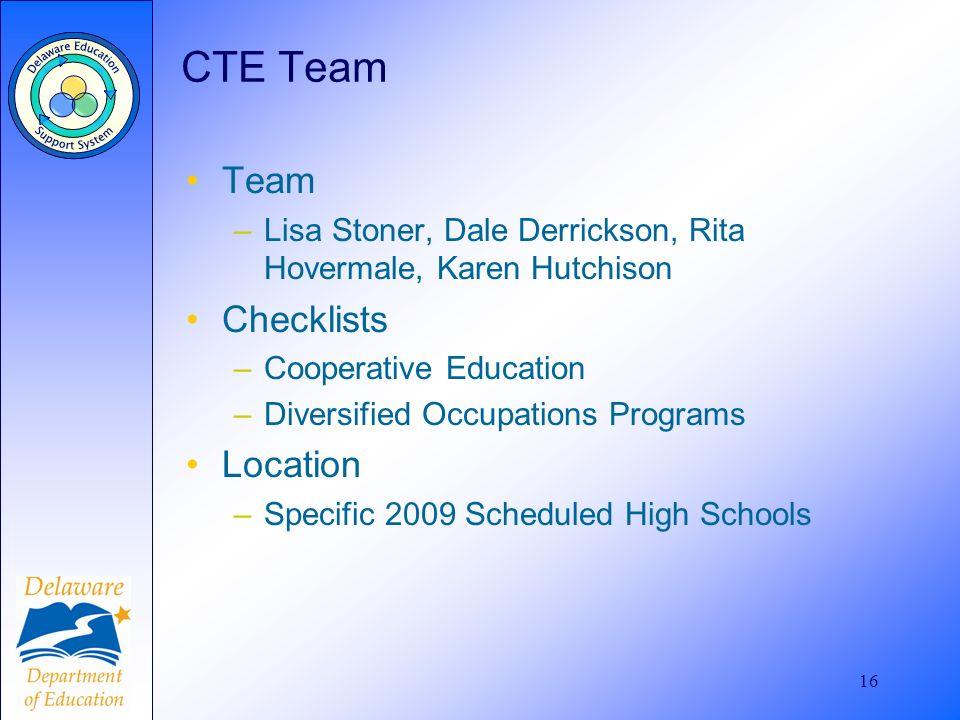 16 CTE Team Team –Lisa Stoner, Dale Derrickson, Rita Hovermale, Karen Hutchison Checklists –Cooperative Education –Diversified Occupations Programs Lo