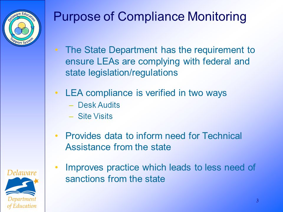 3 Purpose of Compliance Monitoring The State Department has the requirement to ensure LEAs are complying with federal and state legislation/regulation