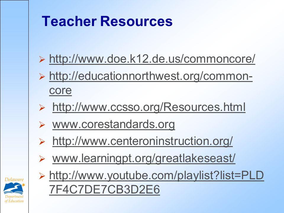 Teacher Resources http://www.doe.k12.de.us/commoncore/ http://educationnorthwest.org/common- core http://educationnorthwest.org/common- core http://www.ccsso.org/Resources.html www.corestandards.org http://www.centeroninstruction.org/ www.learningpt.org/greatlakeseast/ http://www.youtube.com/playlist?list=PLD 7F4C7DE7CB3D2E6 http://www.youtube.com/playlist?list=PLD 7F4C7DE7CB3D2E6