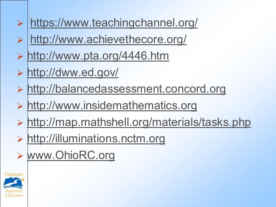 https://www.teachingchannel.org/ http://www.achievethecore.org/ http://www.pta.org/4446.htm http://dww.ed.gov/ http://balancedassessment.concord.org h