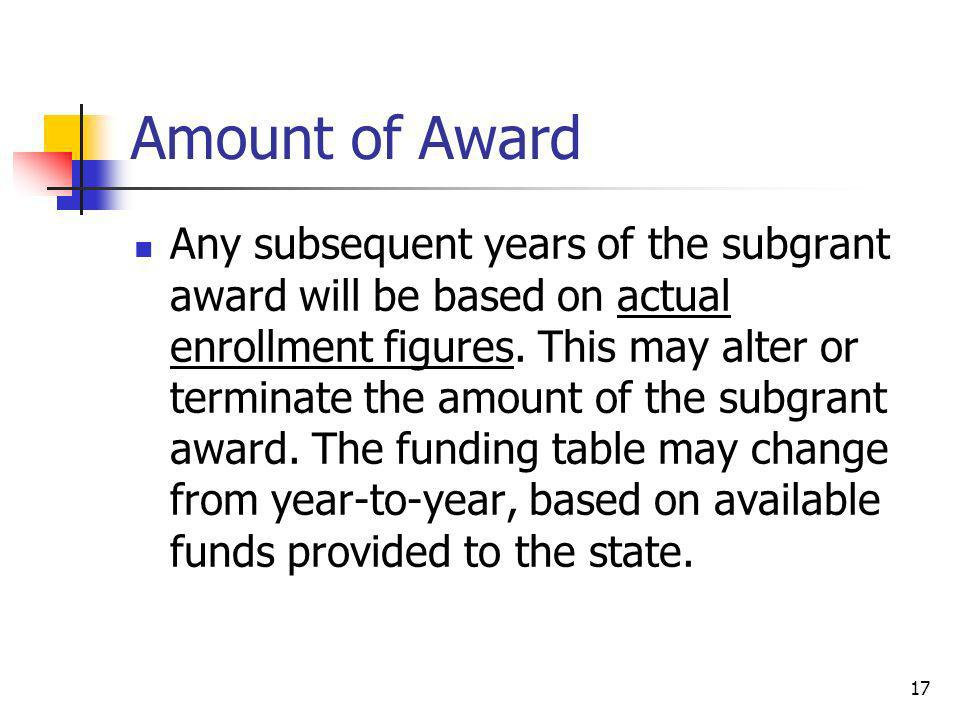 Amount of Award Any subsequent years of the subgrant award will be based on actual enrollment figures. This may alter or terminate the amount of the s