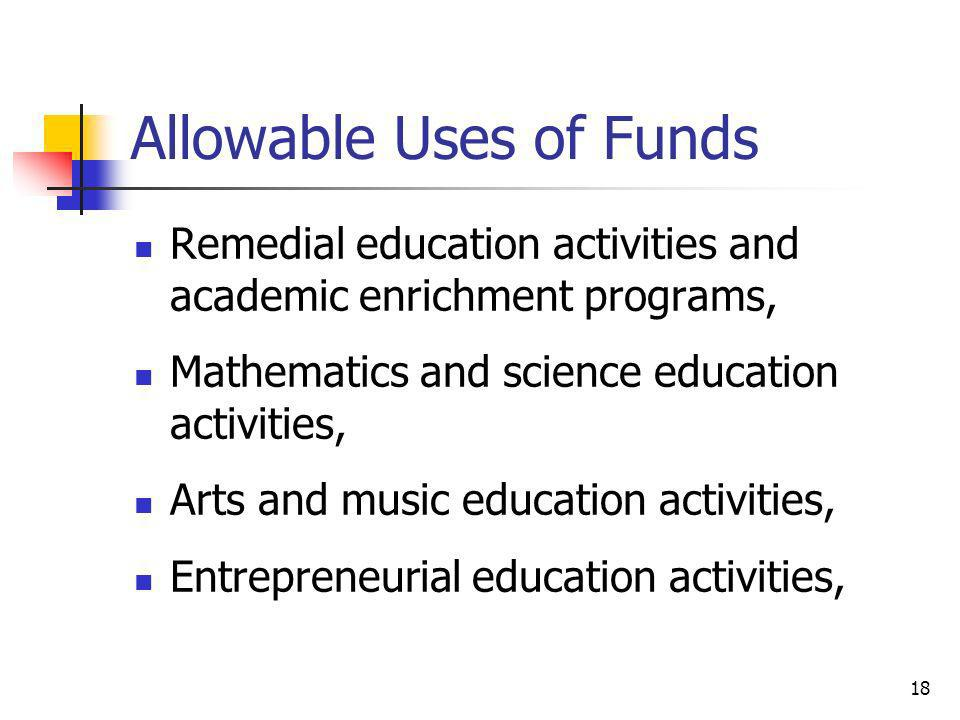 Allowable Uses of Funds Remedial education activities and academic enrichment programs, Mathematics and science education activities, Arts and music e