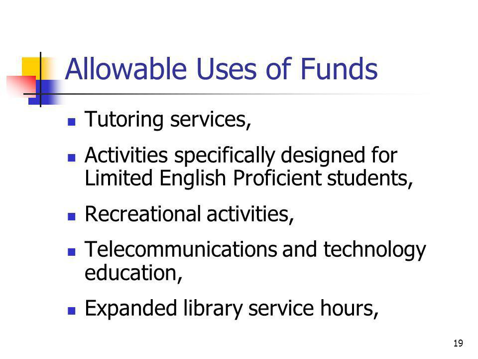 Allowable Uses of Funds Tutoring services, Activities specifically designed for Limited English Proficient students, Recreational activities, Telecomm