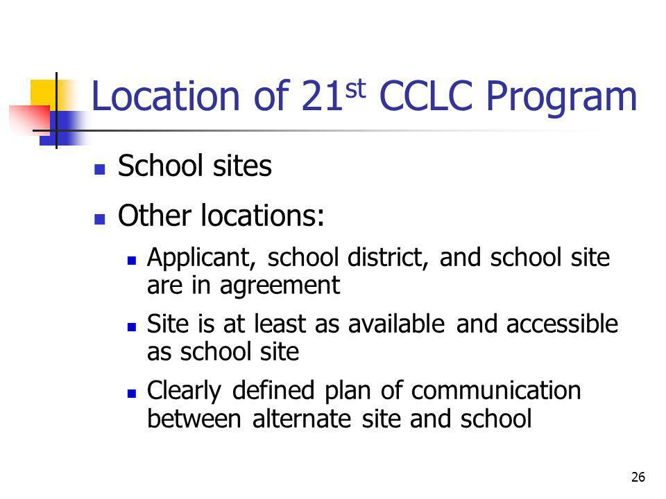 Location of 21 st CCLC Program School sites Other locations: Applicant, school district, and school site are in agreement Site is at least as availabl