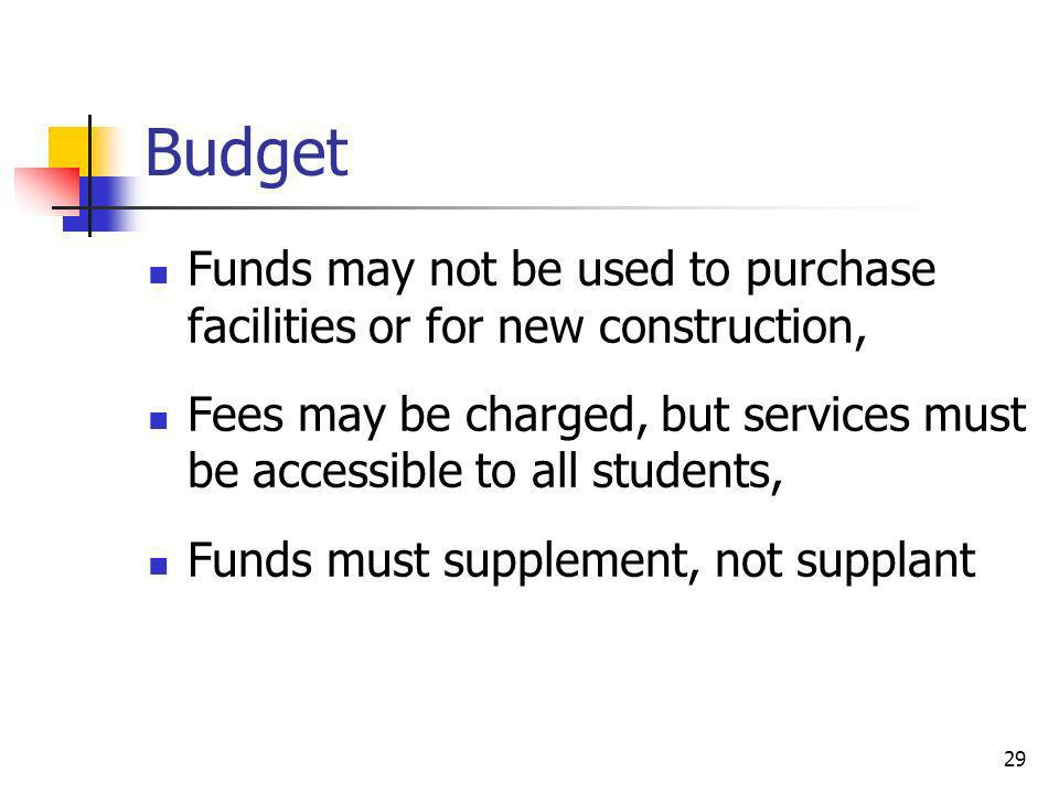 Budget Funds may not be used to purchase facilities or for new construction, Fees may be charged, but services must be accessible to all students, Fun
