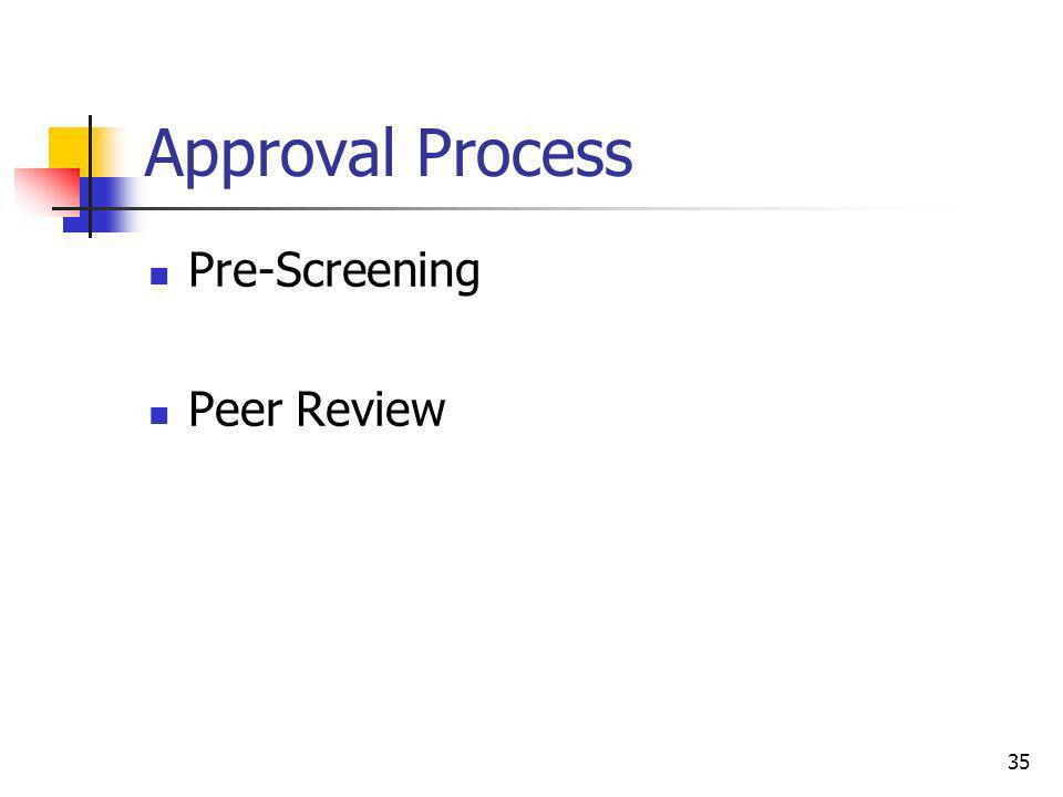 Approval Process Pre-Screening Peer Review 35