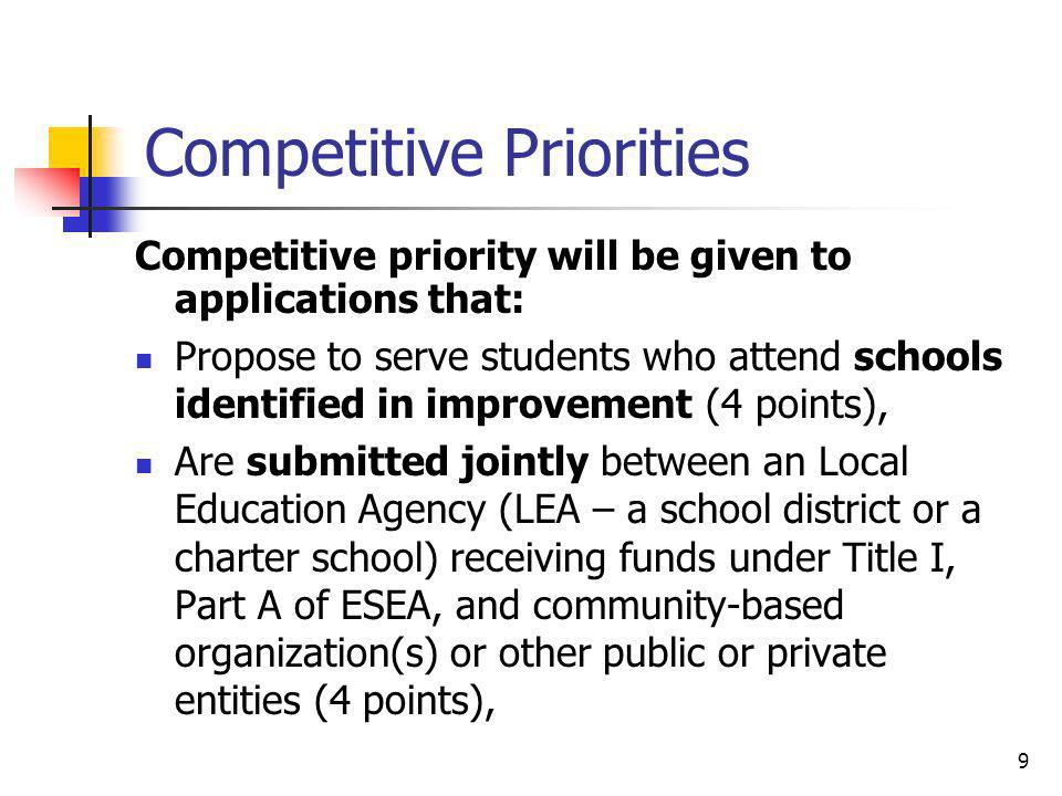 Competitive Priorities Competitive priority will be given to applications that: Propose to serve students who attend schools identified in improvement