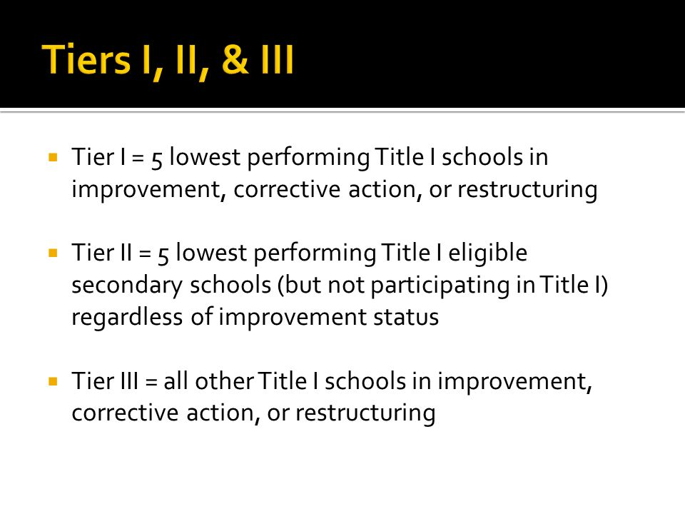 Tier I = 5 lowest performing Title I schools in improvement, corrective action, or restructuring Tier II = 5 lowest performing Title I eligible secondary schools (but not participating in Title I) regardless of improvement status Tier III = all other Title I schools in improvement, corrective action, or restructuring