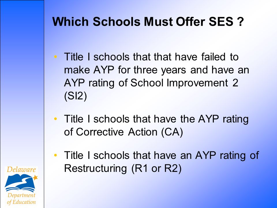 Which Schools Must Offer SES .