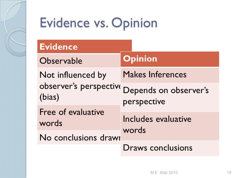 Evidence vs.