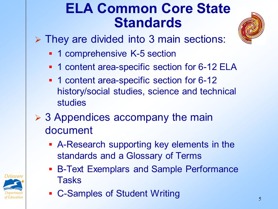 ELA Common Core State Standards They are divided into 3 main sections: 1 comprehensive K-5 section 1 content area-specific section for 6-12 ELA 1 cont